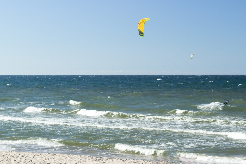 Plaża w Mielnie - Kitesurfing