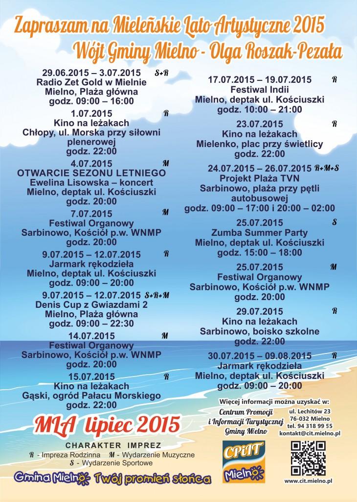 Harmonogram wydarzeń kulturalnych i sportowych w Mielnie - wakacje 2015